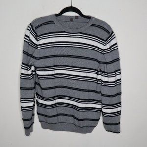 Esprit Gray Black Striped Pullover Knit Sweater